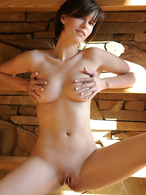 """""""Suzanna shows off her magnificent breasts, slim waist, shavd pussy, and long legs by the fireplace"""""""